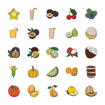 Pack of hand drawn food icons