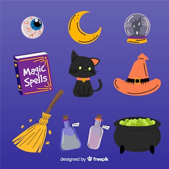 Pack of hand drawn halloween elements