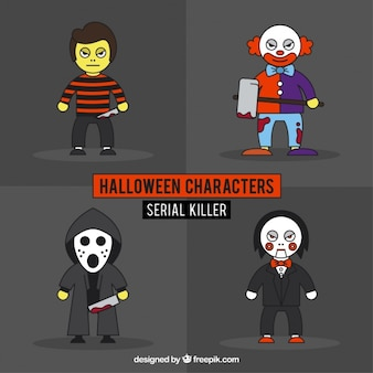 Pack of hand drawn halloween serial killer