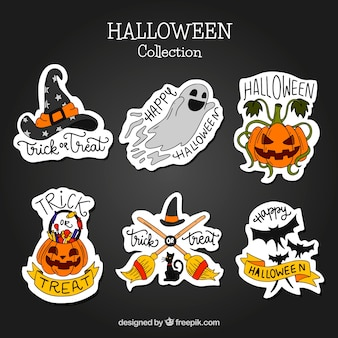 Pack of hand-drawn halloween stickers