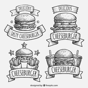 Pack of hand-drawn hamburger logos