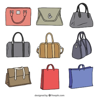 Pack of hand-drawn handbags with different colors