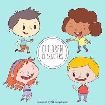 Pack of hand drawn happy children