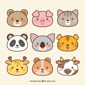Pack of hand drawn kawaii animals