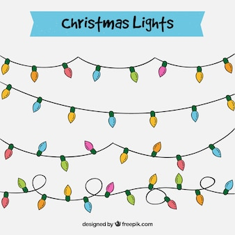 Pack of hand drawn lights garlands