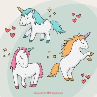 Confezione da disegnata a mano belle unicorni