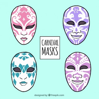 Pack of hand drawn masks with abstract design