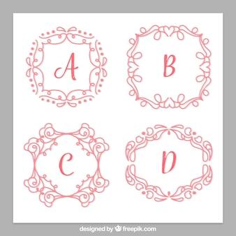 Pacchetto di monogrammi disegnati a mano vintage