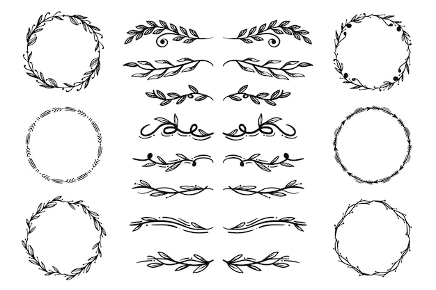 Pack of hand drawn ornamental elements