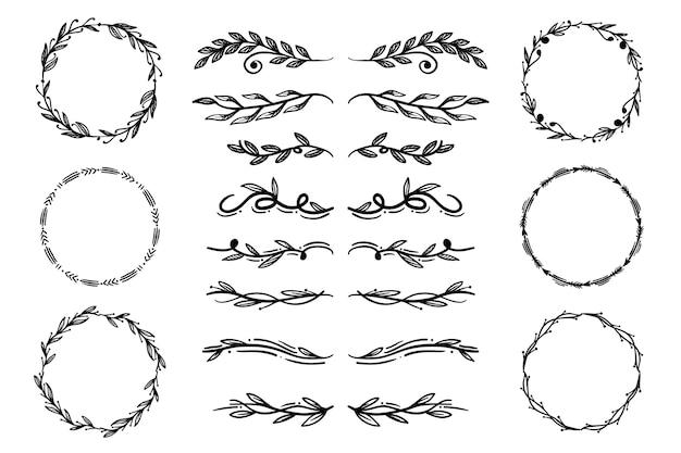Confezione di elementi ornamentali disegnati a mano