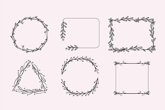 Pack of hand drawn ornamental frames