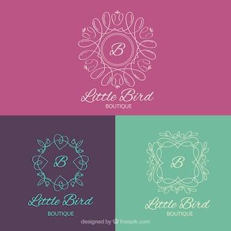 Pack of hand drawn ornamental logos