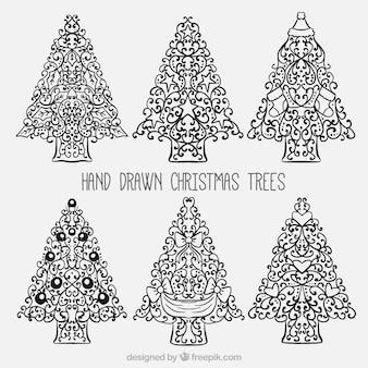 Confezione da disegnata a mano alberi ornamentali