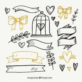Confezione di ornamenti e nastri disegnati a mano