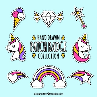 Pack of hand drawn patches fairytale