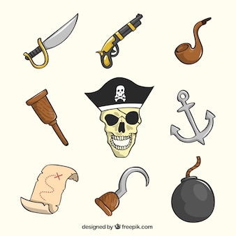 Pack of hand-drawn pirate objects