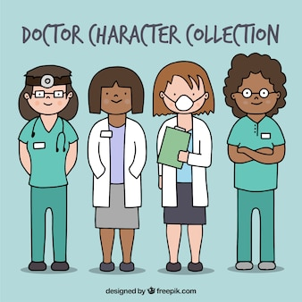 Pack of hand drawn professional female doctors