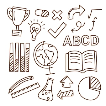 Pack of hand drawn school infographic elements