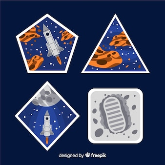 Pack of hand drawn space stickers
