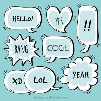 Pack of hand drawn speech bubbles with words