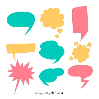 Pack of hand drawn speech bubbles