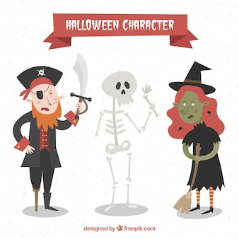 Pack of hand drawn three halloween characters
