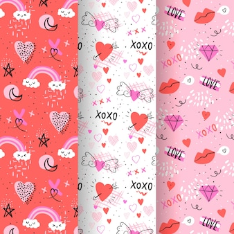 Pack of hand drawn valentine's day pattern