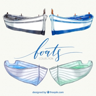 Confezione di disegnati a mano barche acquerello