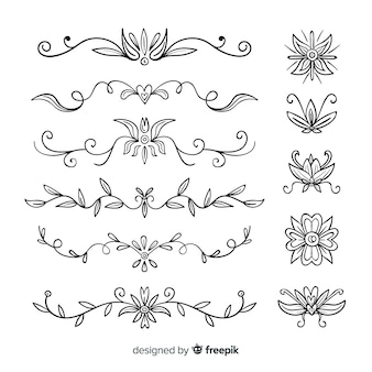 Pack of hand drawn wedding ornaments