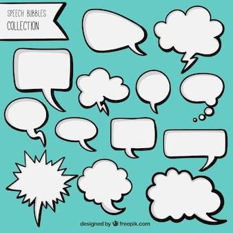 Pack of hand drawn white comic speech bubbles
