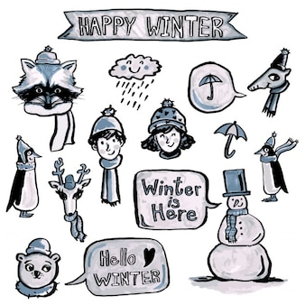 Pack of hand drawn winter elements