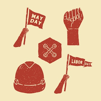 Pack of handdraw labor day elements