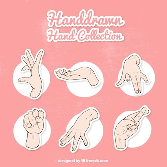 Pack of hands and sign language