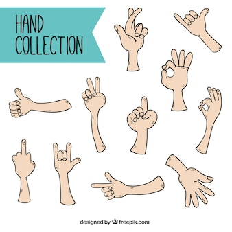 Pack of hands with several signs