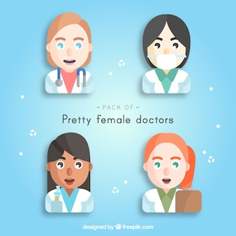 Pack of happy female doctor faces
