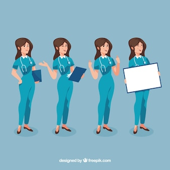 Pack of happy female surgeon