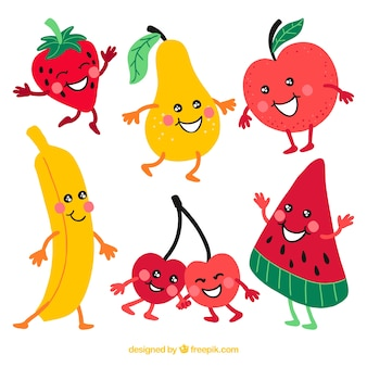 Pack of happy fruit characters