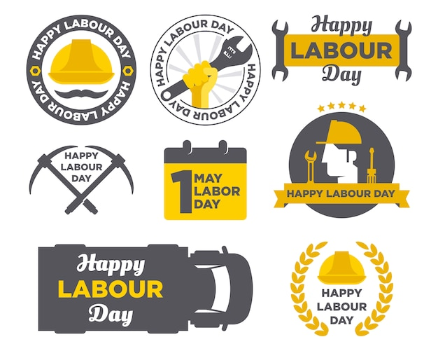 Pack of happy labour day logo badge design background