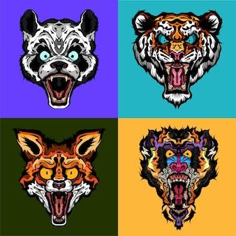 팩 분노한 야생 동물의 머리 팬더 호랑이 여우와 맨드릴 종이 커버 직물 승화 또는 스크린 인쇄에 이상적