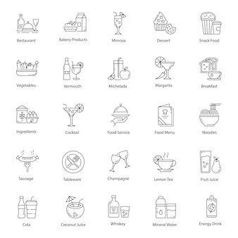 Pack of healthy food icons pack
