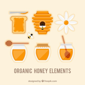 Pack of honey elements in flat design