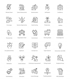Pack of human resource line vector icons
