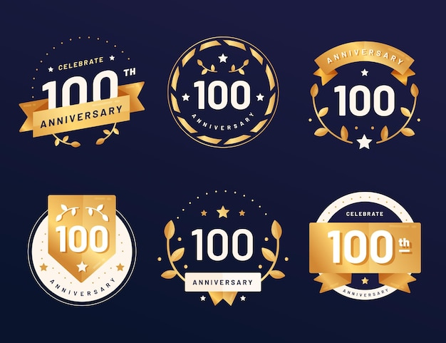 Pack of hundred years anniversary badges