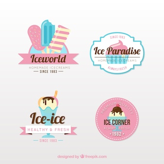 Pack of ice cream logos in vintage style