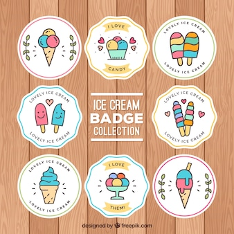 Pack of ice cream stickers in linear style