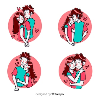 Pack of illustrated cute couple