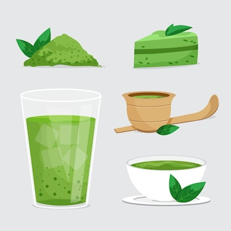Pack of illustrated matcha desserts