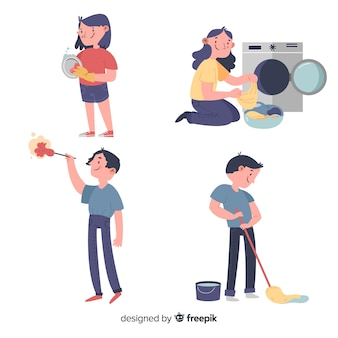 Pack of illustrated people doing housework