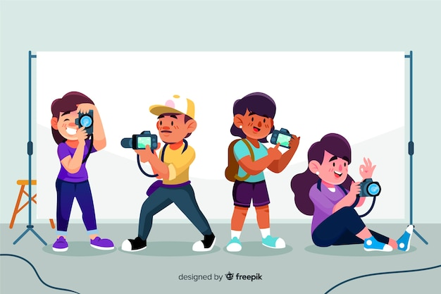 Pack of illustrated photographers taking different shots
