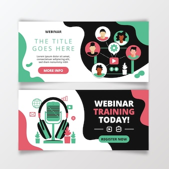 Pack of illustrated webinar banners